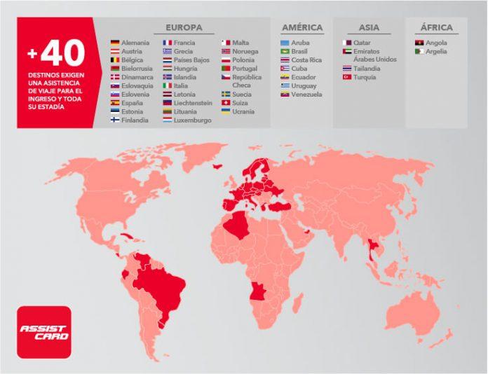 lista de destinos a nivel mundial donde la asistencia en viajes es obligatoria