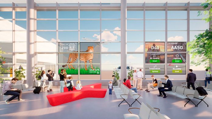 DFW convertirá las ventanas del aeropuerto en pantallas digitales inteligentes