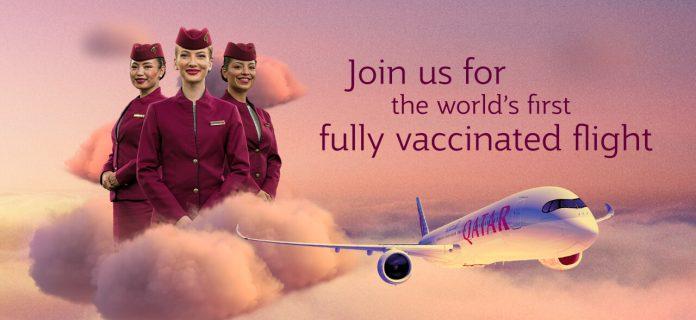 Qatar Airways operó el primer vuelo del mundo totalmente vacunado contra COVID-19
